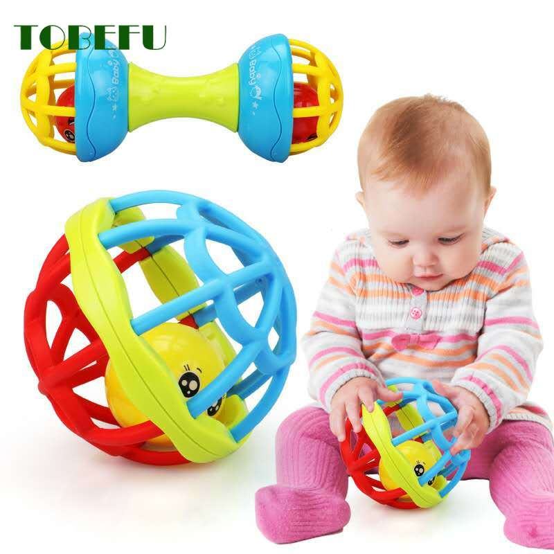 Plastic Hand Bell Intelligence Grasping Gums Baby Teether Toy Baby Rattles Toy Food Grade Teething Rattle For 0-3years Baby