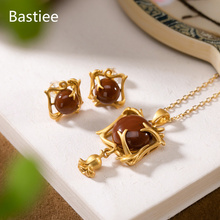 Bastiee Red Agate Silver 925 Jewelry Sets For Women Neclace Pendants Golden Plated Stud Earrings Luxury Gift Jewellery Set
