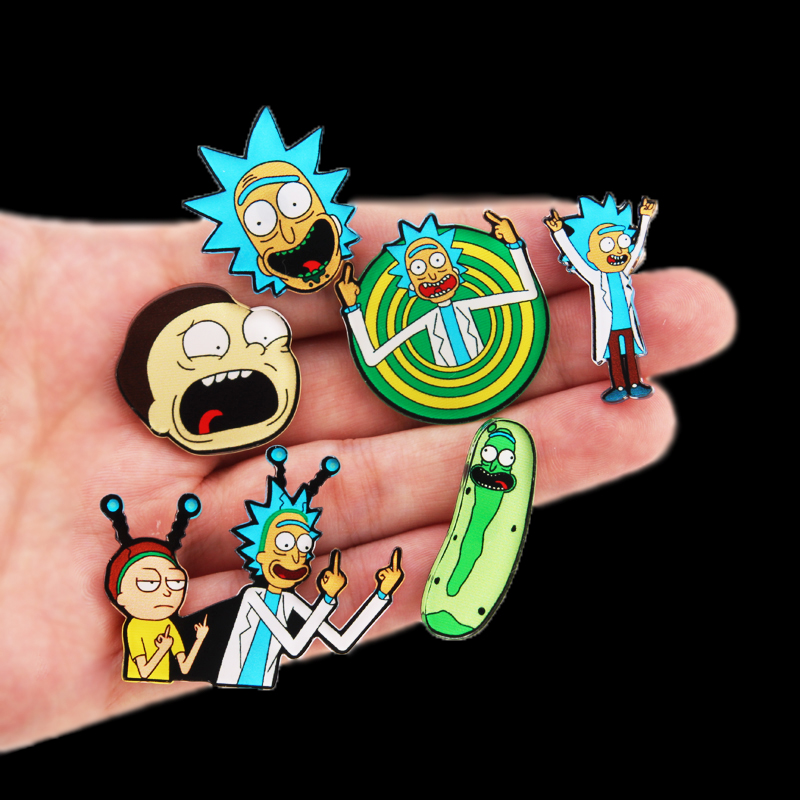 Rick and Morty <font><b>pins</b></font> Genius mad scientist Badge <font><b>Buttons</b></font> Brooch Anime Lovers Denim Shirt Lapel <font><b>pin</b></font> image