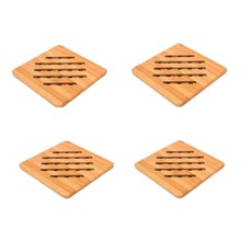 Bamboo Trivets, Set of 4 Trivets for Hot Pans/Hot Dishes/Teapot Non-Slip Heat Resistant Insulated Hot Pot Holder Mat Pads for Ki(China)