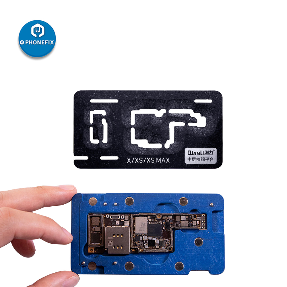 QianLi Middle Frame Reballing Platform BGA Reballing Stencil Tin Planting Table For IPhone X XS MAX 11ProMax Motherboard Fixture