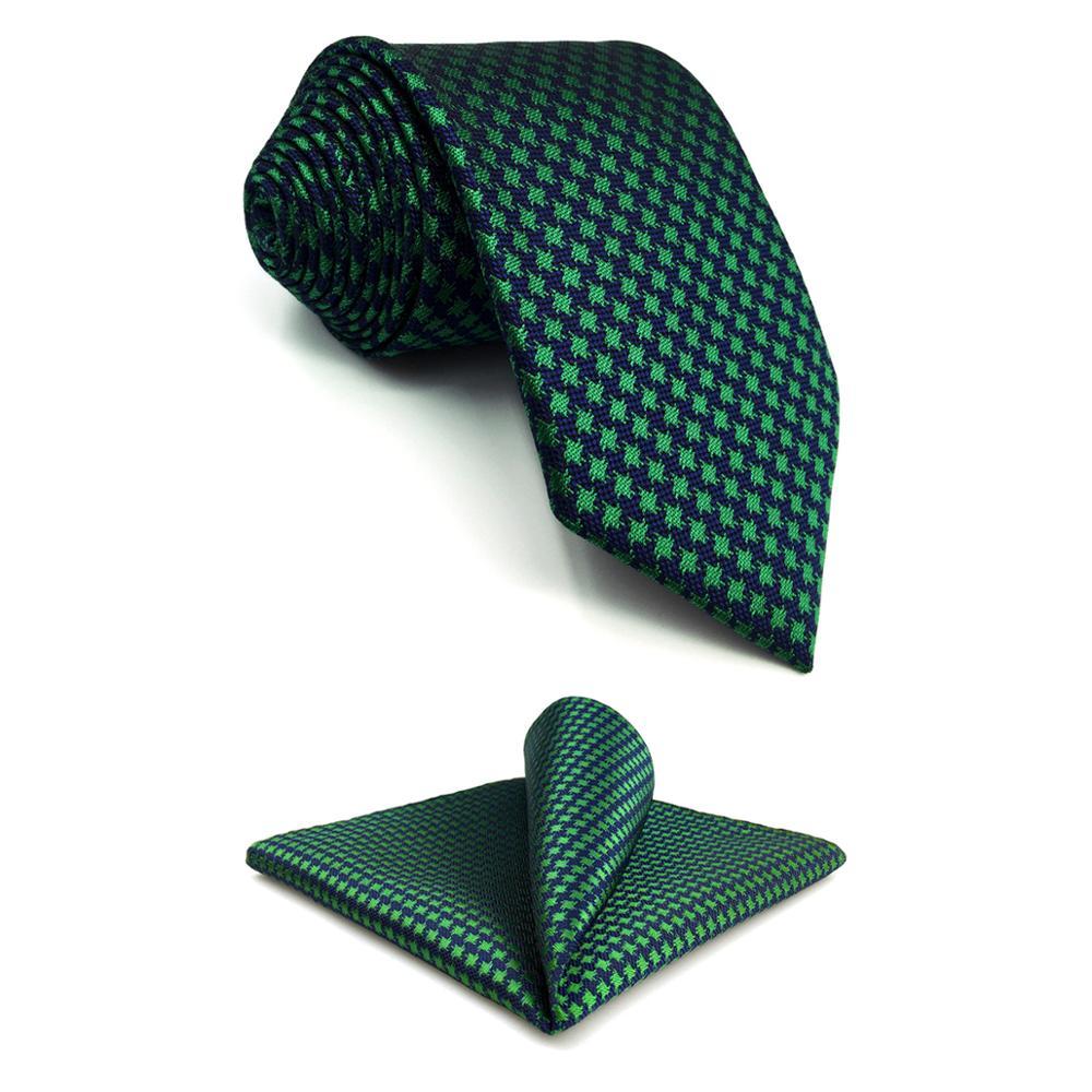 """F24 Green Blue Houndstooth Mens Necktie Set Silk Designer Classic Wedding 63"""" Hanky Slim 6cm Tie Ties For Men"""