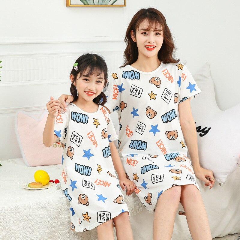 New Summer Cotton Women Night Dress Princess Nightgowns Girls Unicorn Sleepwear Nightwear Cartoon Short Sleeves Nighty Gecelik 6