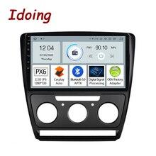 "Idoing 10.2 ""2.5D PX6 רכב אנדרואיד אוטומטי רדיו מולטימדיה נגן עבור סקודה אוקטביה 2 A5 2008 2014 GPS ניווט Carplay Bluetooth"