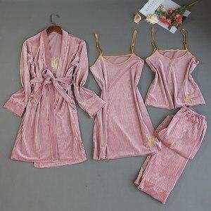 Image 2 - 2019 herbst Winter 4 Stück Frauen Pyjamas Sets Samt Nachtwäsche Nachtwäsche Stickerei Pyjama Spaghetti Strap Schlaf Lounge Pijama