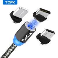Topk am17 led magnético usb cabo/micro usb/tipo c para iphone x xs max ímã carregador para samsung xiaomi pocofone usb c Cabos flexíveis de celular     -