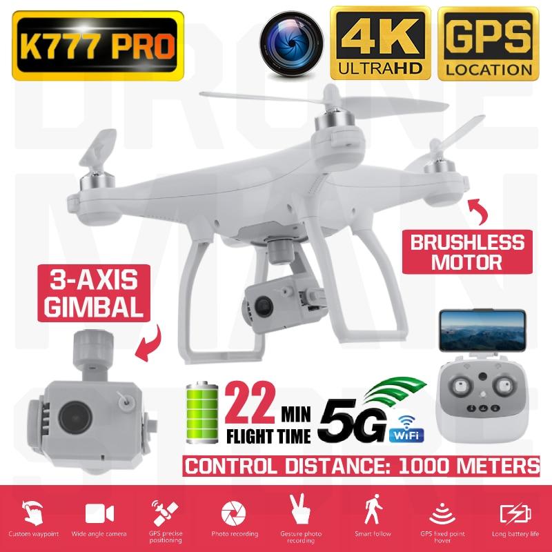 K777 Pro Drone 4K GPS 3-Achsen Gimbal HD Kamera 5G WIFI RC Quadcopter Bürstenlosen Motor Fpv drohnen Eders Professionelle 22Min Flug
