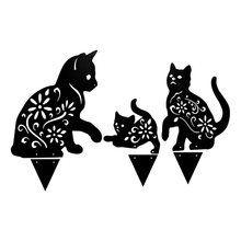 Lawn-Ornaments Home-Decoration Yard Garden Stake Metal Art-Fairy Silhouette Cat 1set