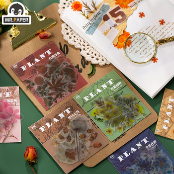 Mr.paper 40Pcs/bag Plants Series Botany Deco Diary Stickers Scrapbooking Pad Planner Decorative Stationery Stickers Accessories mr paper 45pcs bag garden series washi deco diary stickers scrapbooking pad planner decorative stationery stickers accessories