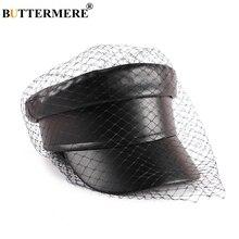 BUTTERMERE кожаная женская кепка в стиле милитари, Черная кепка, кепка с вуалью, элегантная однотонная Кепка в стиле плюща, женские осенние повседневные матросские кепки