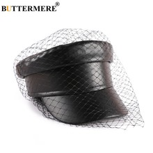 Mariposa mere-gorra militar de cuero para mujer, sombrero de capitán negro con velo, elegante, sólido, ddler, hiedra, informal, Sailor, otoño