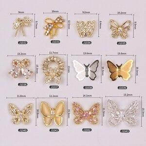 10 sztuk/partia kocie oko łuk biżuteria do paznokci przezroczyste Stereo dżetów kryształ motyl kamień biżuteria do paznokci, 3D Charms-RS1062