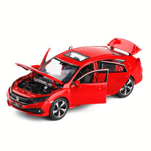 1:32 Diecast Model Car Toy Metal Wheels Honda Civic High Simulation Sound And Light Door Kids Toys Boys Cars Set Collection Gift