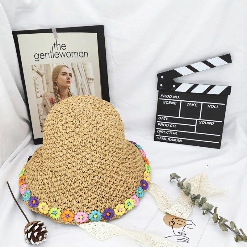 Hotsale Lady Sun Hat Wide Brim Bowknot Decorative Sunshade Folding Nylon Straw Plaiting Beach Cap Outdoor Headwear Accessories n