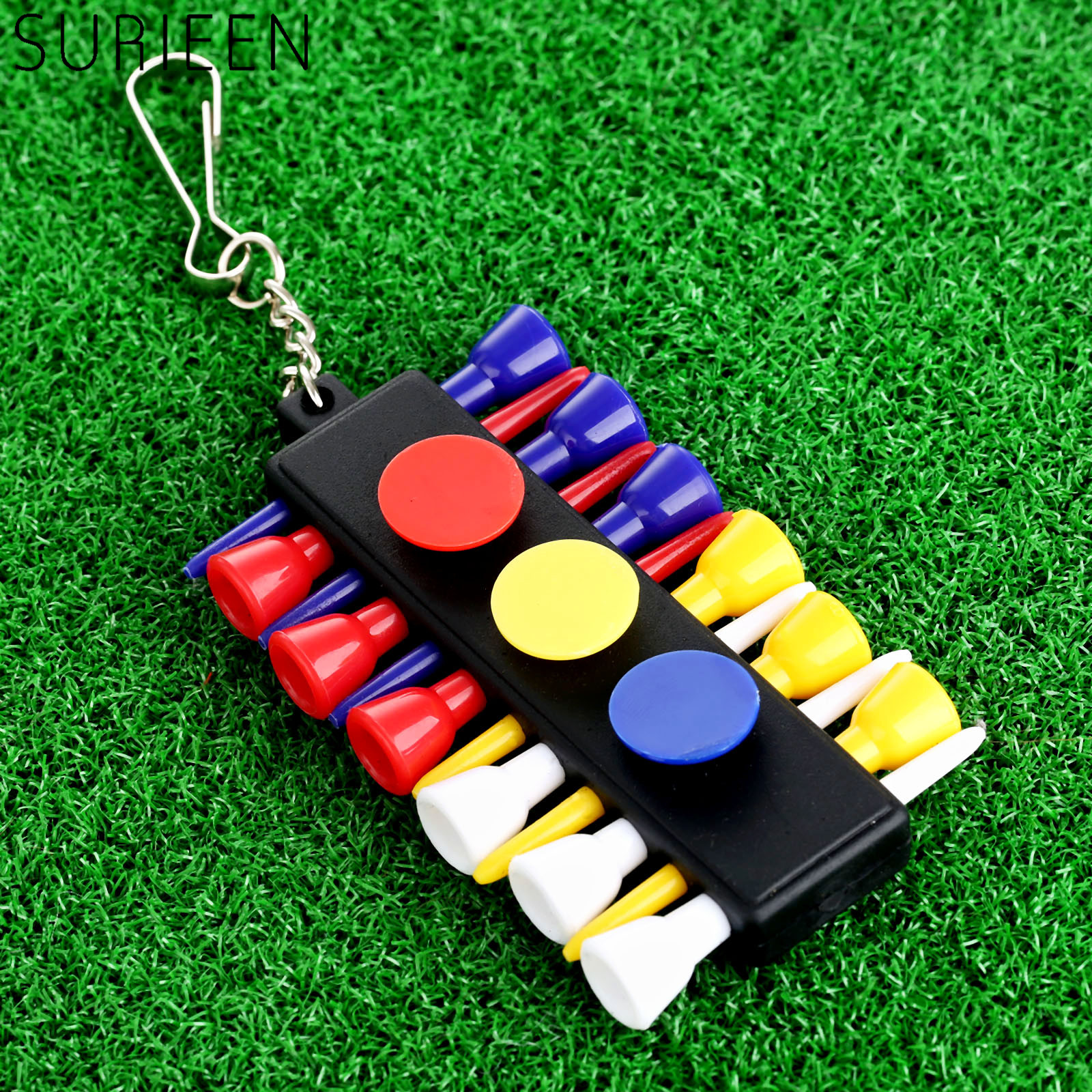 1 Set Plastic Golf Tees Holder Stand Carrier With 12 Pcs Rubber Golf Ball Tees & Pocket Keychain Outdoor Golf Training Aids