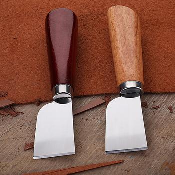 DIY narzędzie kaletnicze drewniany uchwyt ze stali nierdzewnej nóż do cięcia skóry tanie i dobre opinie CN (pochodzenie) Stainless Steel T8WB7HH502018-1