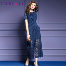 TESSCARA Women Elegant Lace Jumpsuit Fashion Ruffle Designer