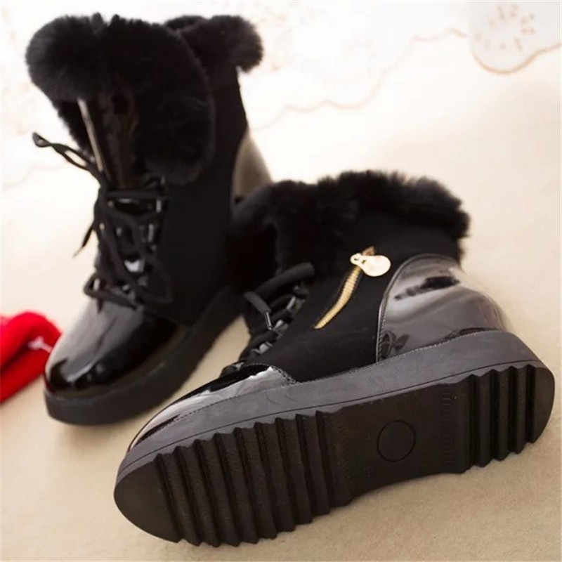 2019 Women Snow Boots Fashion Natural Wool Fur Winter Warm Ankle Boots For Women comfortable Lace-Up Flat Shoes Metal Decoration 19