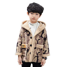 цены Kids Camo Hoodie Wool Coat for Boys Kids Winter Fur Coat Winter Clothes for Children Camouflage Fleece Hoodie Outerwear Boys