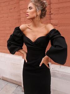 Nibber Bodycon Dress Club Party V-Neck Elegant Night-Red Off-Shoulder Winter Women Autumn
