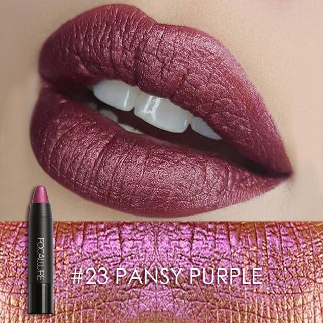 FOCALLURE New 8 Metallic Lip Colors Sexy Party Lip Color Lip Stick Matte Lip Gloss Long-lasting Lipsticker