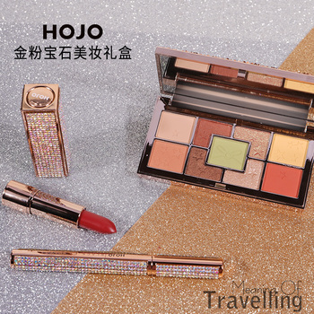 Hojo makeup set for Christmas gift 3pcs bright color shimmer eyeshadow with sexy red matte lipstick cool black eyeliner BN192 фото