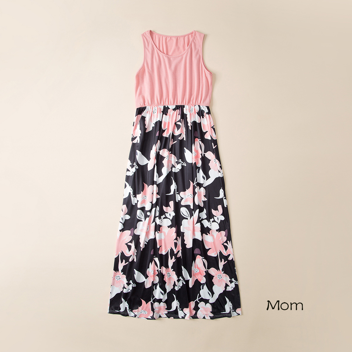2021 Family Matching Maxi Dress Mom And Me Daughter Summer Patchwork Floral Long Dress For Women Clothes Mother Baby Girl Outfit