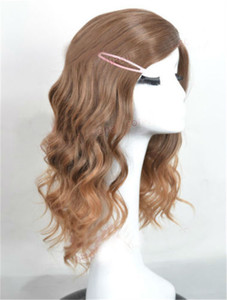 Image 3 - Styled Brown Curly Side Parting Heat Resistant Synthetic Hair Wigs Hermione Jean Granger Cosplay Wigs + Wig Cap