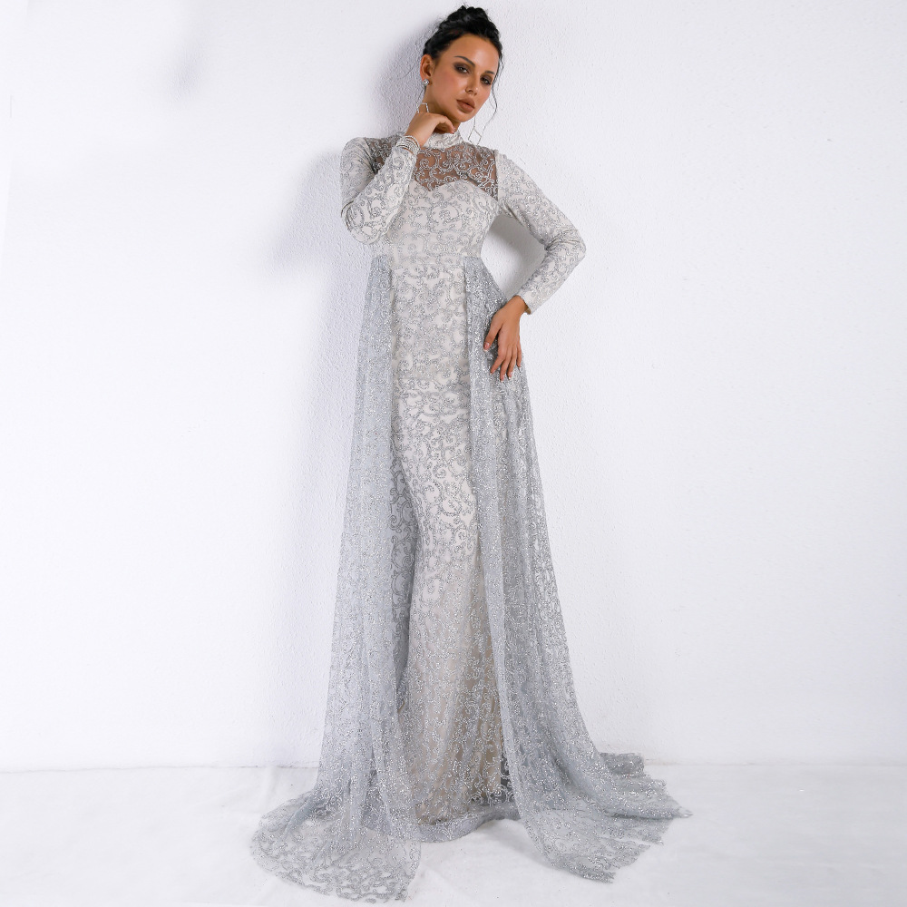 New Silver Long Evening Dress 2019 Mermaid Sexy Full Sleeve Special Occasion Party Prom Dresses For Women Evening Gowns