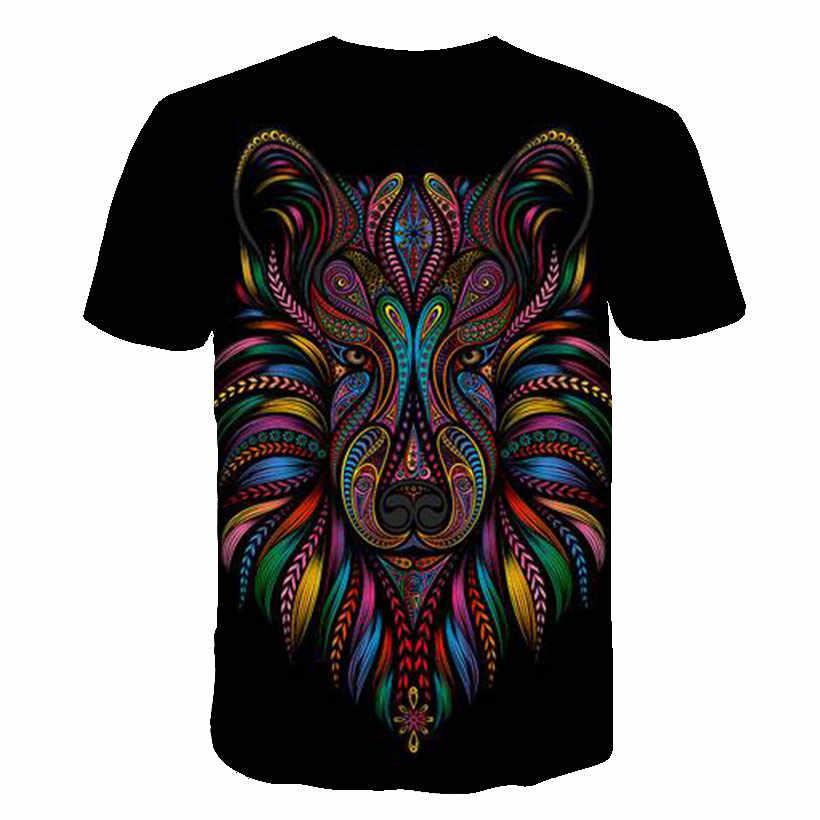 Camiseta de moda Casual de verano para hombres, 2019, nueva camiseta personalizable de calle, divertida camiseta de Horror para hombres y mujeres, camiseta de lobo tigre león