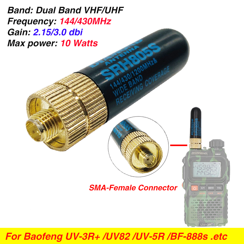 10W SRH805S SMA-F Female Antenna High Gain Dual Band UHF VHF 144/430MHz For Baofeng UV-5R BF-888S Uv-82 UV-5RA UV82 UV-3R Radio