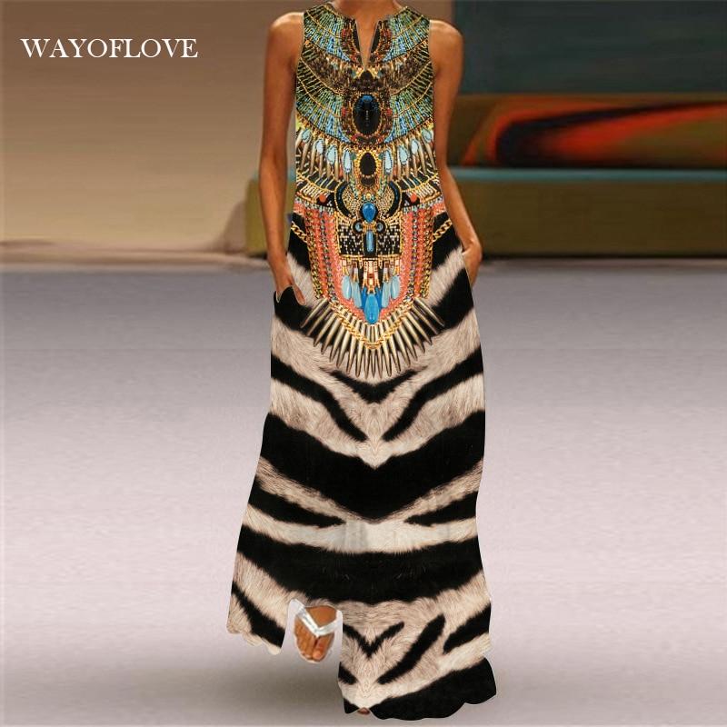 WAYOFLOVE, платье с принтом тигра 2021, винтажные повседневные Длинные платья оверсайз с V-образным вырезом, летнее женское пляжное платье макси бе...