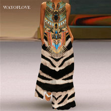 Wayoflove tigre vestido de impressão 2021 vintage v pescoço casual oversize vestidos longos mulher verão sem mangas menina praia maxi vestido