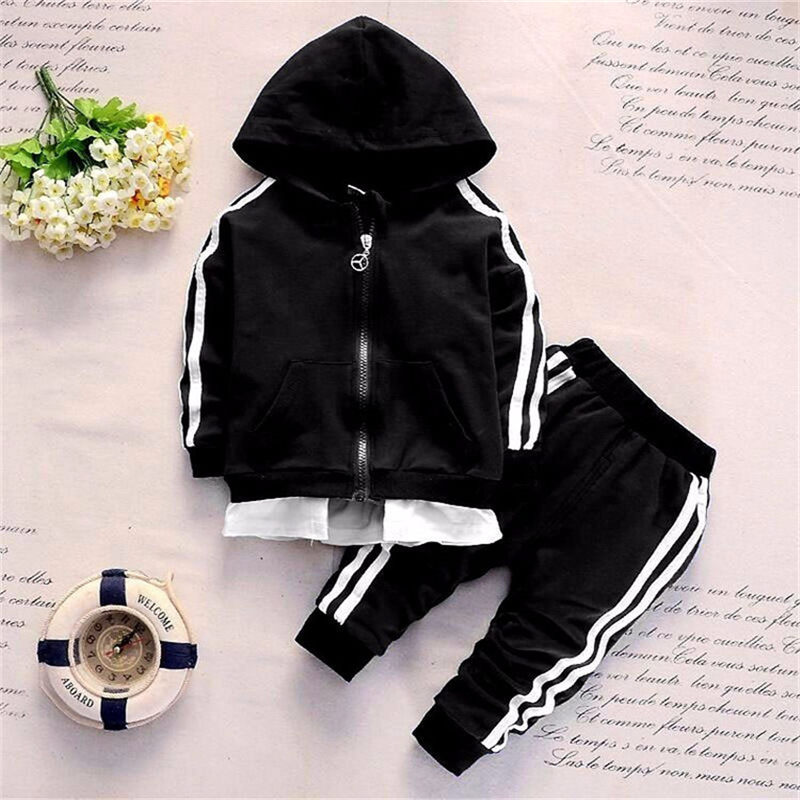 Casual Tracksuit <font><b>Baby</b></font> Boy <font><b>Clothing</b></font> Girl Sets Autumn Cotton Zipper Jacket+Pants 2Pcs Outfit Kids Clothes Leisure Hooded Sportsuit image