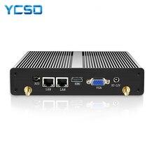 HLY безвентиляторный мини ПК Dual LAN Celeron N2830 J1800 J1900 Windows PC 2 * последовательный порт 2 * LAN WiFi HDMI VGA HTPC мини компьютер