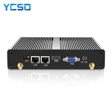 HLY Fansız Mini PC Çift LAN Celeron N2830 J1800 J1900 Windows PC 2 * Seri port 2 * LAN WiFi HDMI VGA HTPC Mini Bilgisayar