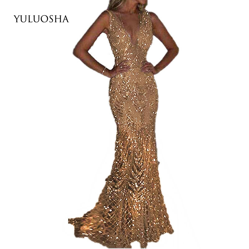 YULUOSHA New Mermaid Sequins Golden Evening Dress Long Prom Party Dresses Evening Gown Formal Dress Women Elegant Robe De Soiree