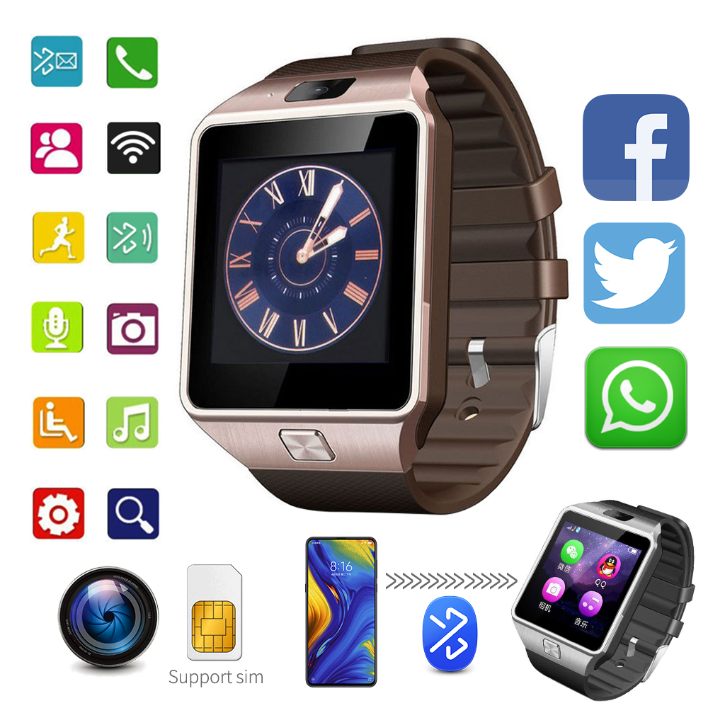 New Smartwatch Smart Watch Clock Digital Men Watch Bluetooth SIM TF Card Camera For Android Smart Mobile Phone Wristwatch