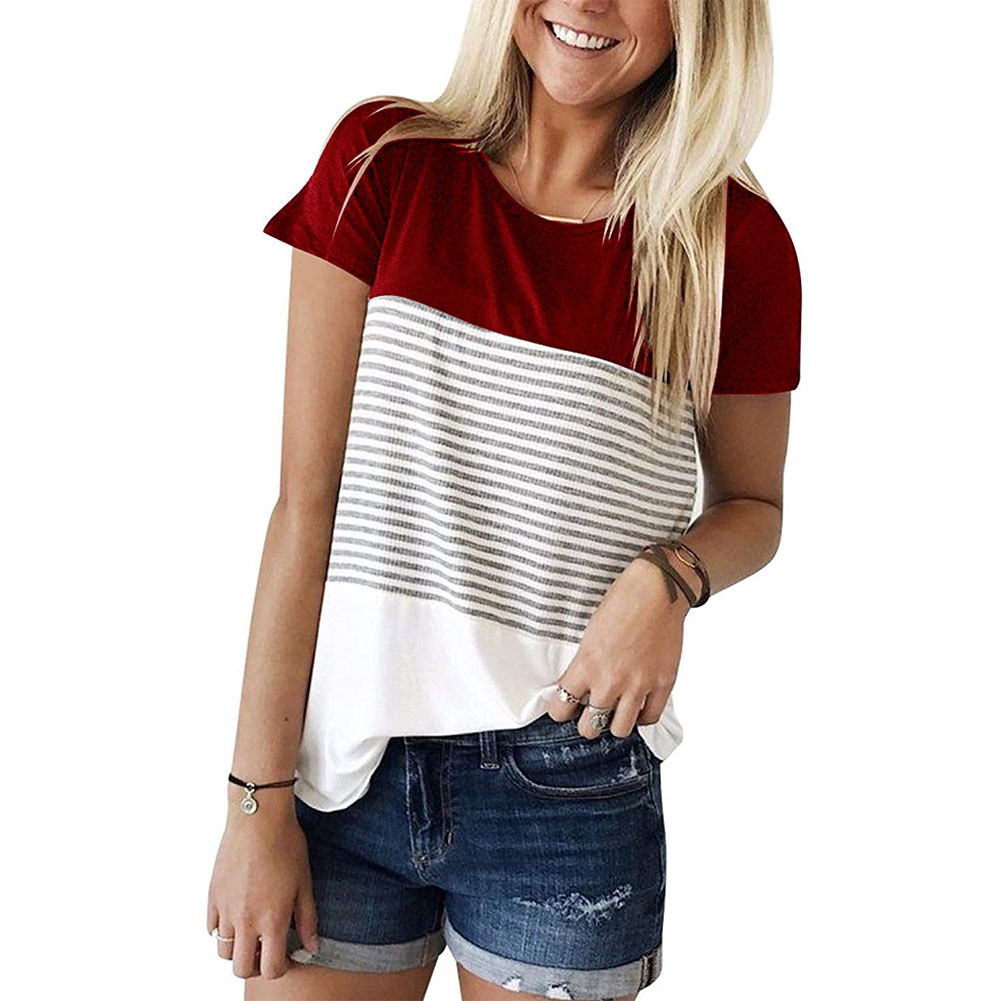 Fashion Tops for Women Off Shoulder Striped Short Sleeve Causal Round Neck T Shirt