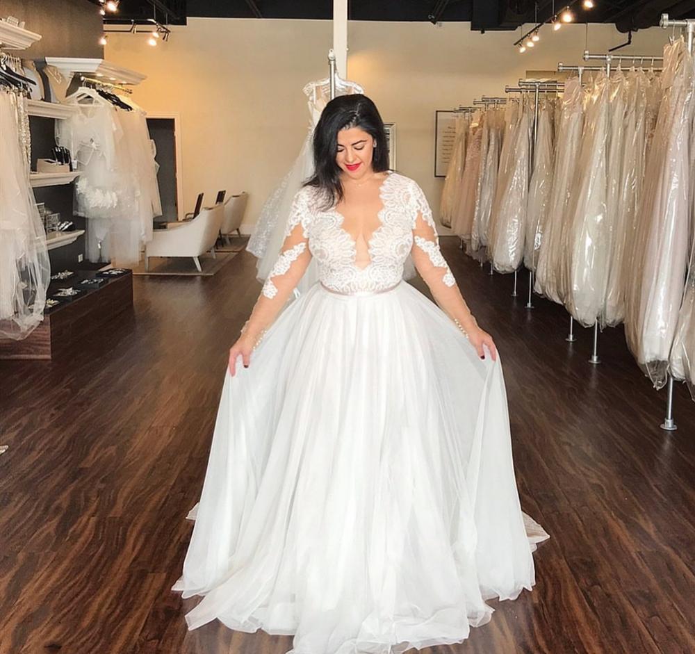 18 Boho Plus Size Bridal Gowns V neck Big Size Wedding Dress ...