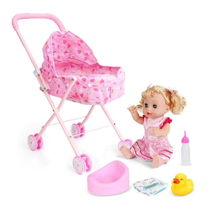 Cute Baby Stroller Trolley Doll for Toddler Pretend Play Toy Pram Pushchair Gift A2UB 8