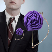 6piece/lot Stain Rose Groom Boutonniere Wedding Corsage Handmade Purple Groomsmen For Accessories XH0273-17