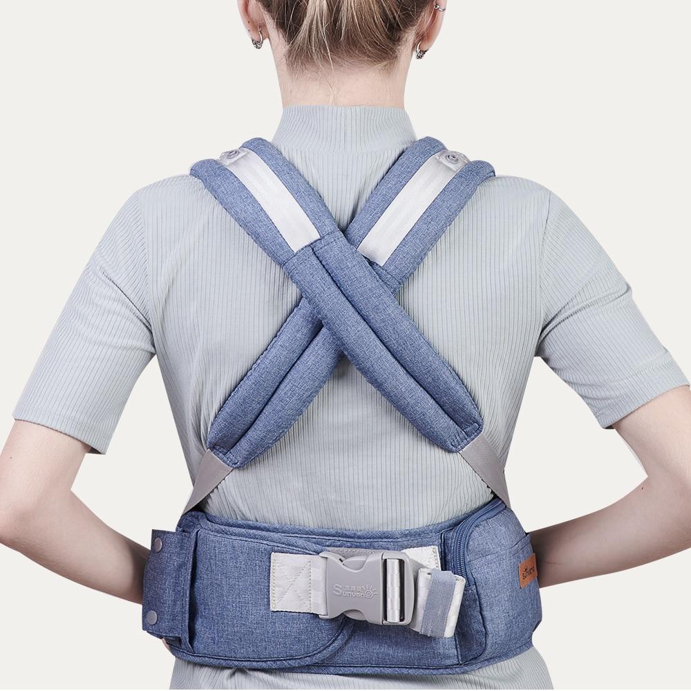 Sunveno Ergonomic Baby Carrier Baby Kangaroo Child Hip Seat Tool Baby Holder Sling Wrap Backpacks Baby Travel Activity Gear 5