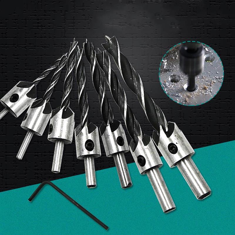 1PCS Flute Countersink Drills BitS Countersunk Head Drilling Bit Set 3 Tips Woodworking Drill 3,4,5,6,7,8,10mm