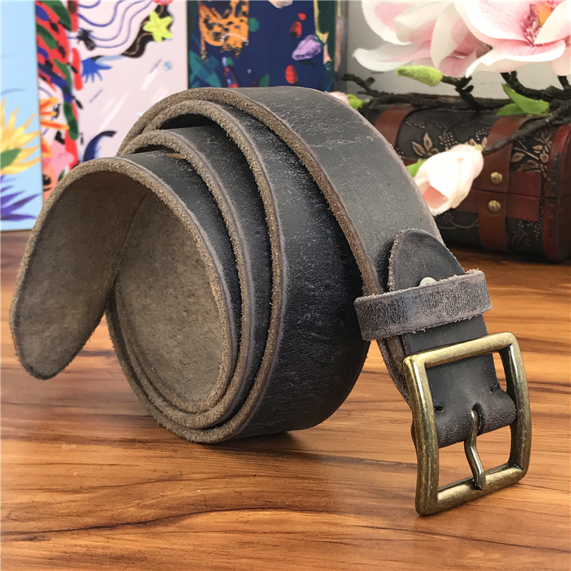 Retro Cowboy Jeans Leather Belt Men Ceinture Vintage Brass Belt Buckle Leather Belt For Men Long Waist Yellow Belt MBT0009