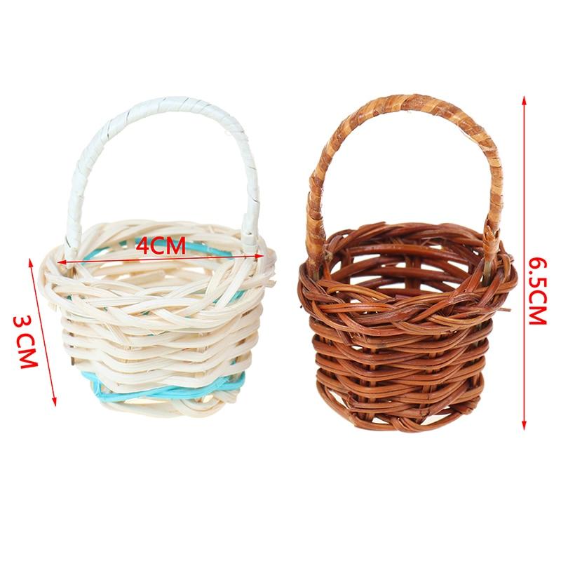 Mini Rattan Weaving Storage Basket Fruit Rattan Storage Box For Cosmetics Tea Picnic Basket Organizer Dollhouse Furniture Toys