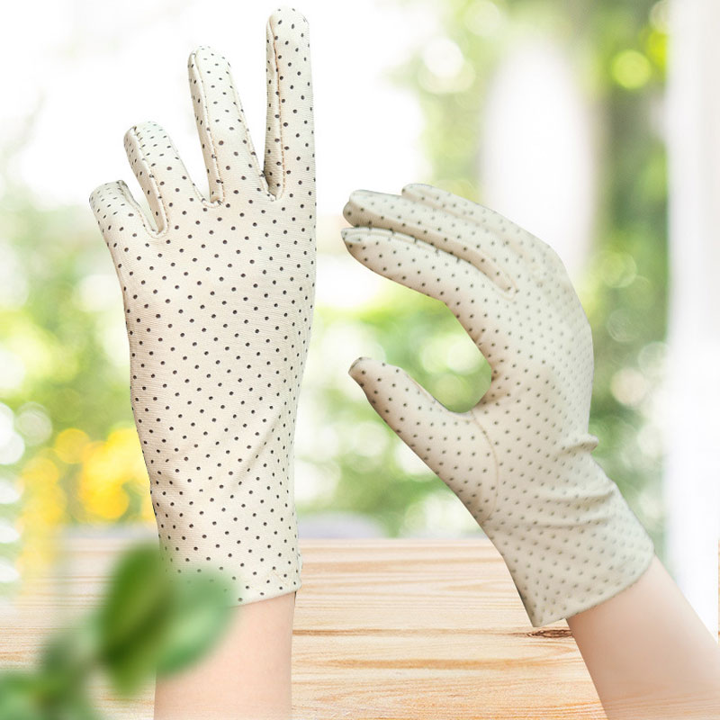 Women Spring And Summer Fashion Dot Gloves Ladies Thin Short Little Stretch Gloves Spandex High Quality Sun Protection Gloves