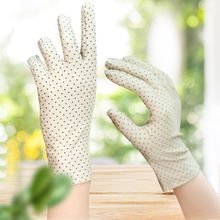 Women Spring And Summer Fashion Dot Gloves Ladies Thin Short Little Stretch Gloves Spandex High Quality Sun Protection Gloves(China)