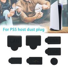Wysokiej jakości 7 sztuk silikonowe wtyczki przeciwkurzowe pyłoszczelna wtyczka USB interfejs HDM anti-kurz pokrywa dla PS5 akcesoria do konsoli do gier tanie tanio centechia CN (pochodzenie) PlayStation 5 Silicone Dust Plugs Set dropshipping
