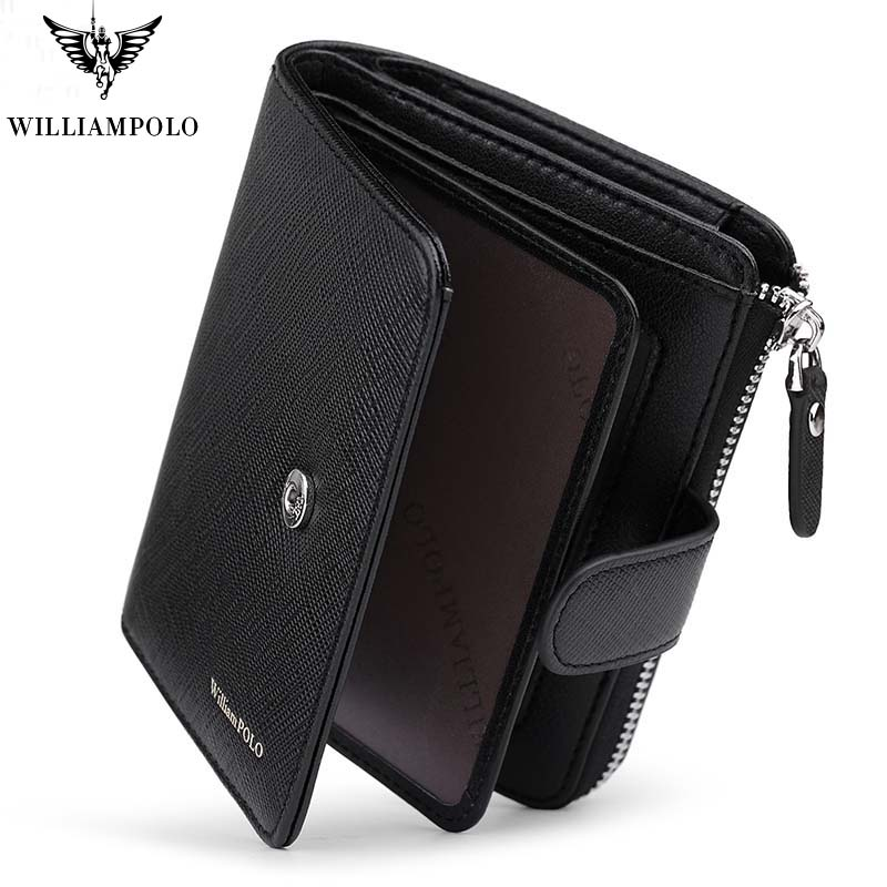 New Men Fashion Genuine Leather Wallet Business Credit Card Holder Wallet Multifunction Zip WilliamPOLO Purse Photo Case